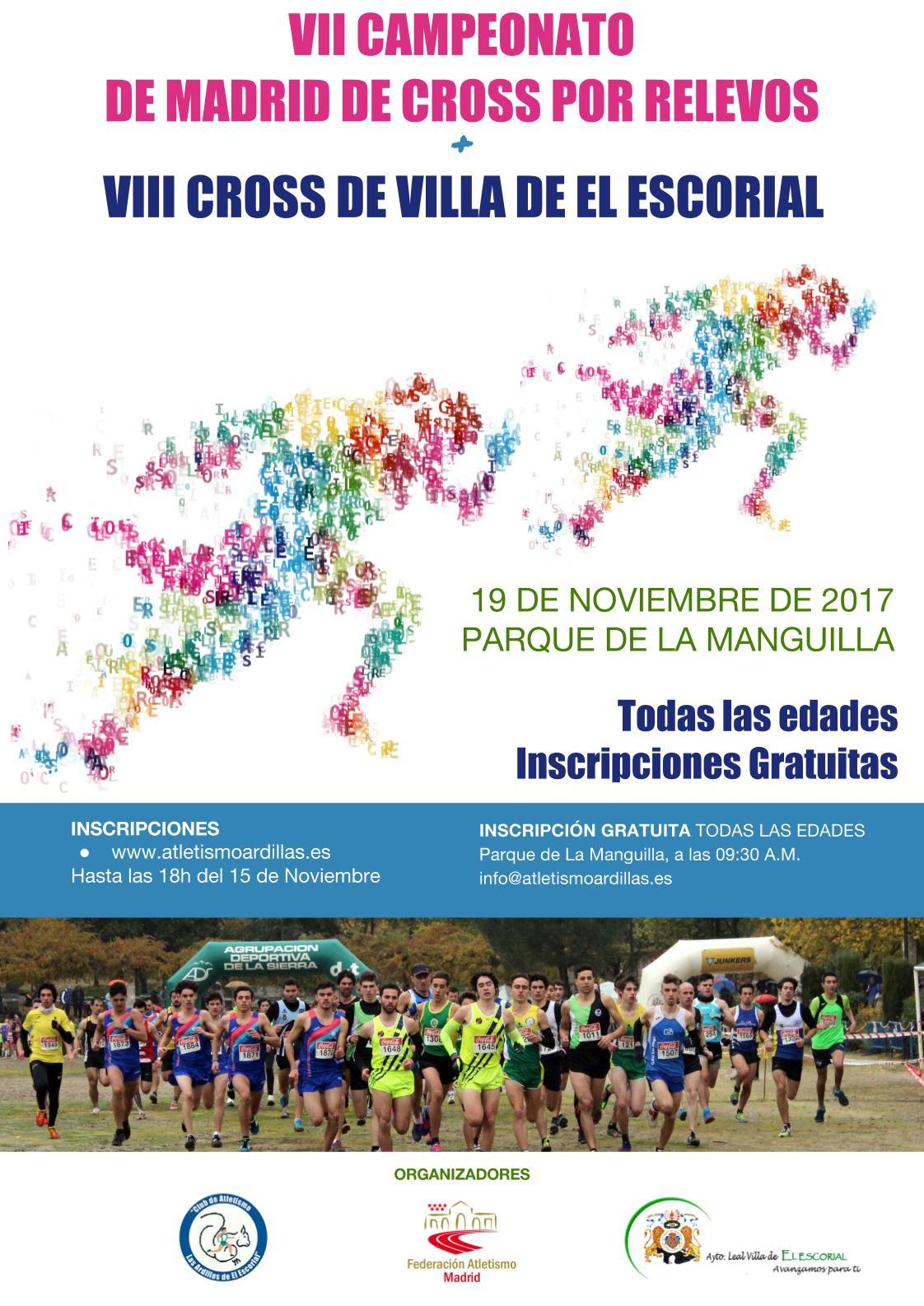 Cartel Campeonato de Madrid de Relevos de Cross y Cross de El Escorial 2017