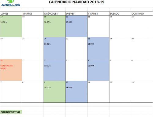 CALENDARIO ENTRENAMIENTOS NAVIDADES 2018-2019