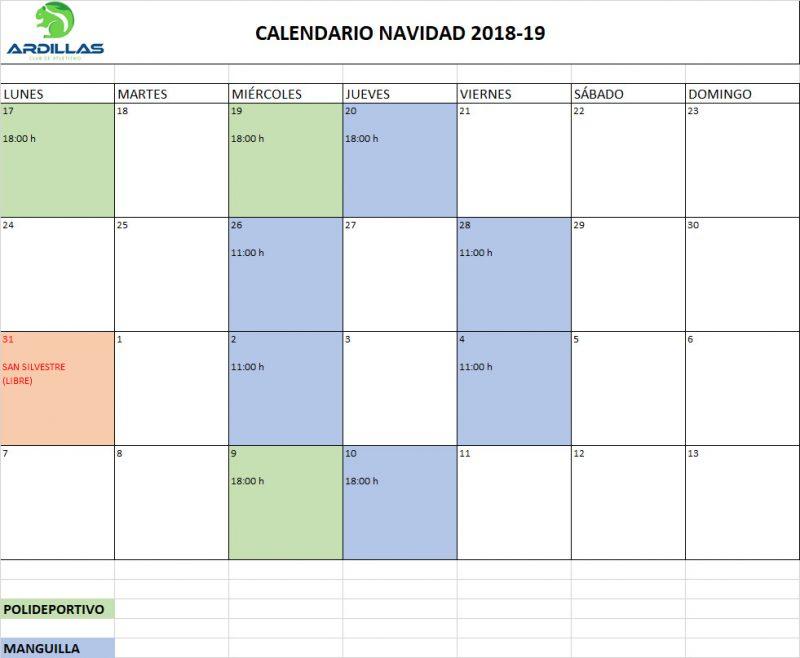 Calendario Navidades 2018-2019